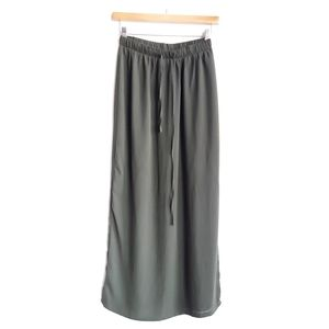 Forever 21 Olive Army Green Maxi Skirt Drawstring